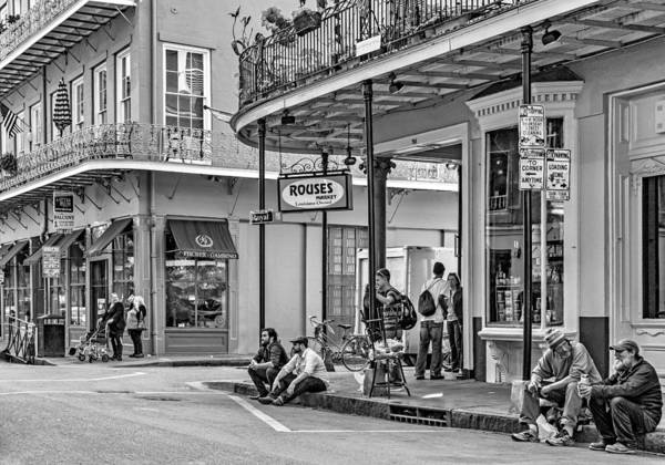 French Quarter Art Print featuring the photograph French Quarter - Hangin' Out Bw by Steve Harrington