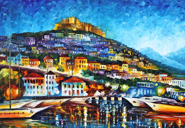 Town Art Print featuring the painting Greece Lesbos Island 2 by Leonid Afremov