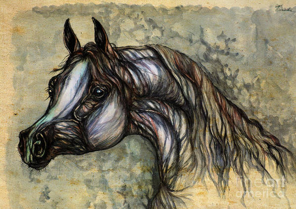Horse Art Print featuring the painting Grey In The Sepia by Angel Ciesniarska