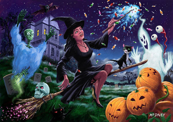 Halloween Art Print featuring the painting Happy Halloween Witch With Graveyard Friends by Martin Davey