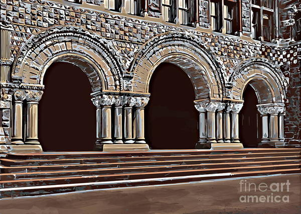 Studying Art Print featuring the painting Harvard Entrance To Law School  C1900 by Andrzej Szczerski