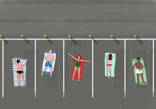 Shadow Art Print featuring the digital art High Angle View Of People Sunbathing In by Malte Mueller