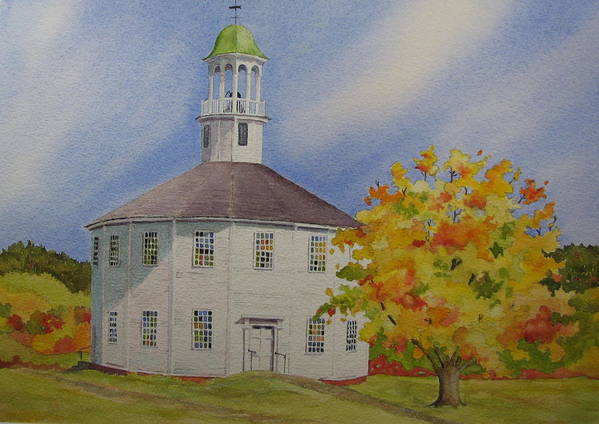 Richmond Art Print featuring the painting Historic Richmond Round Church by Mary Ellen Mueller Legault