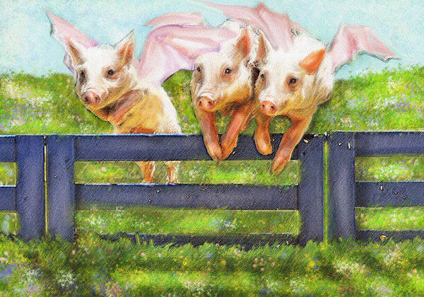 Pigs Art Print featuring the digital art If Pigs Could Fly by Jane Schnetlage