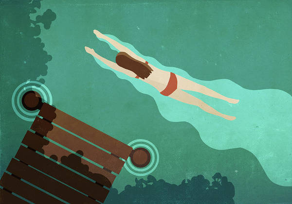 Recreational Pursuit Art Print featuring the digital art Illustration Of Woman Swimming In Lake by Malte Mueller