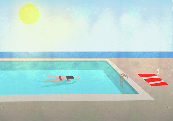 Recreational Pursuit Art Print featuring the digital art Illustration Of Woman Swimming In Pool by Malte Mueller