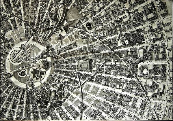 Cityscape Art Print featuring the drawing Inside Orbital City by Murphy Elliott