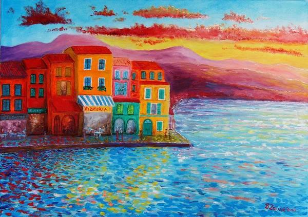 Italian Coast Art Print featuring the painting Italian Dream by Bozena Zajiczek-Panus