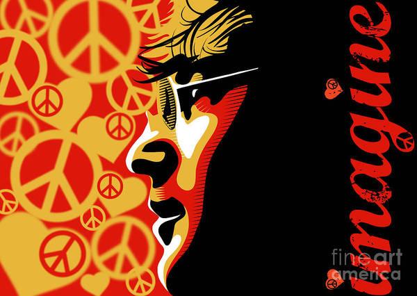 Beatles Art Print featuring the digital art John Lennon Imagine by Sassan Filsoof