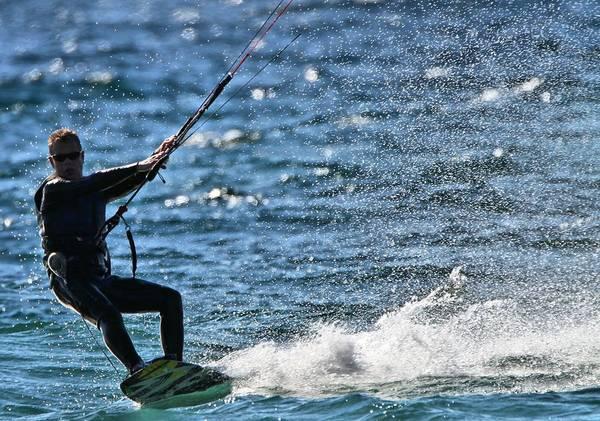 Kitesurfing Lake Michigan Art Print featuring the photograph Kite Surfing Splash by Dan Sproul