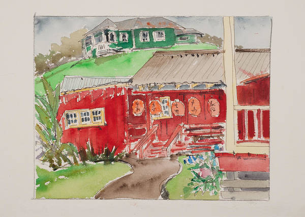 Hawaii Watercolor Art Print featuring the drawing Kwok Hing Society Maui by Fred Truitt
