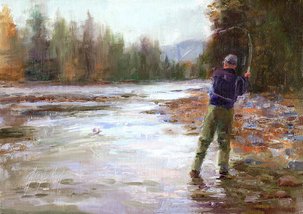 Fly Fishing Art Print featuring the painting Landing A Big Rainbow by Cheryl King