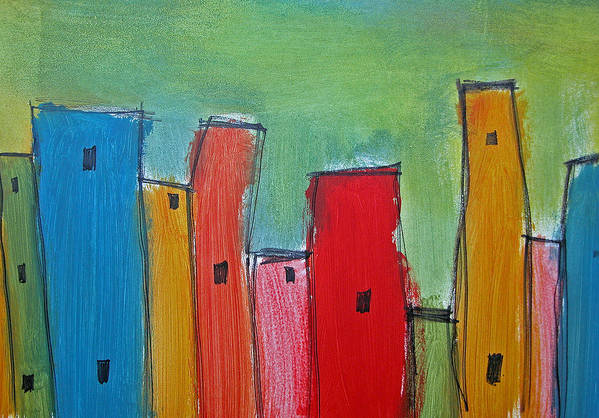Skyline Art Print featuring the painting Leaning Towers by Rhodes Rumsey