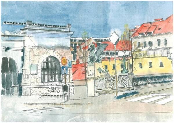 Ljubljana Art Print featuring the painting Ljubljana - Dragon's Bridge by Marko Jezernik