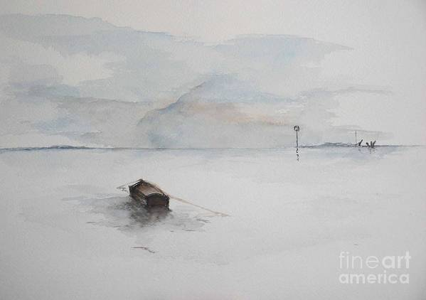 Boat Art Print featuring the painting Lonely Mooring by Sibby S