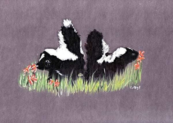 Wildlife Skunks Art Print featuring the painting Lovely Scent by Catherine Swerediuk