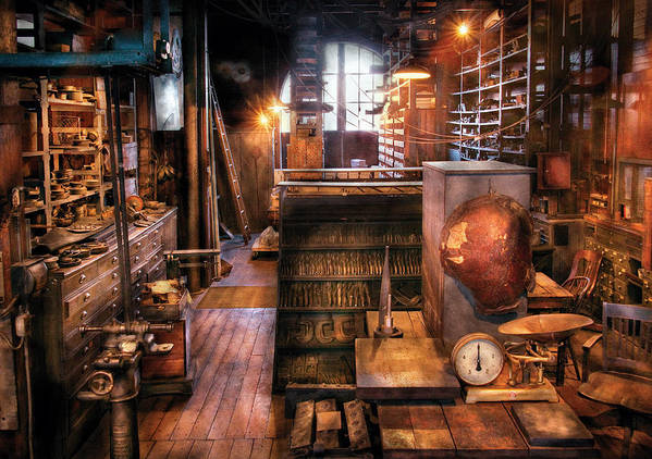 Machinist Print featuring the photograph Machinist - Ed's Stock Room by Mike Savad