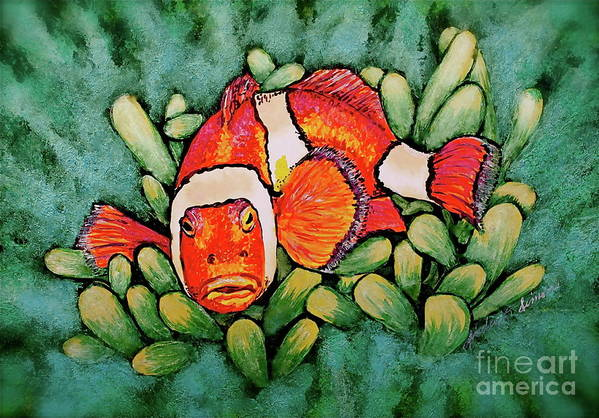 Fish Print featuring the painting Mad Clown by Linda Simon