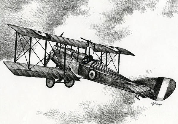 Airplane Drawing Art Print featuring the drawing Martinsyde G 100 by James Williamson