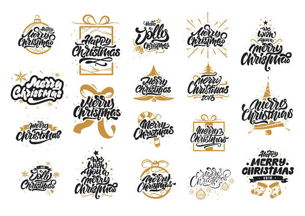 Christmas Lettering.Merry Christmas Lettering Designs Merry Christmas Happy New Year Typography Merry Christmas Lettering Logos For Postcard Poster Gift And