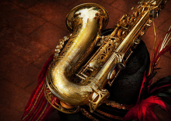 Hdr Art Print featuring the photograph Music - Brass - Saxophone by Mike Savad