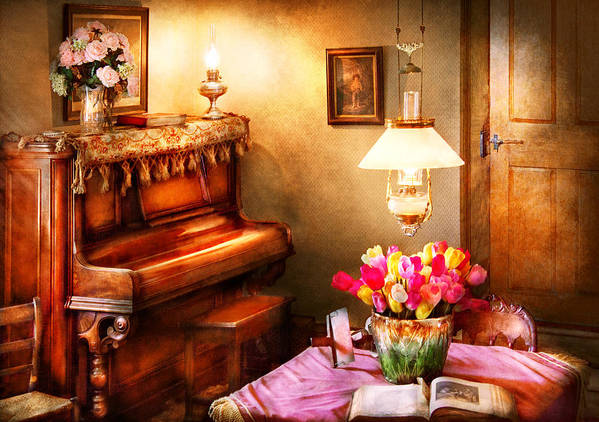 Hdr Art Print featuring the photograph Music - Piano - The Music Room by Mike Savad