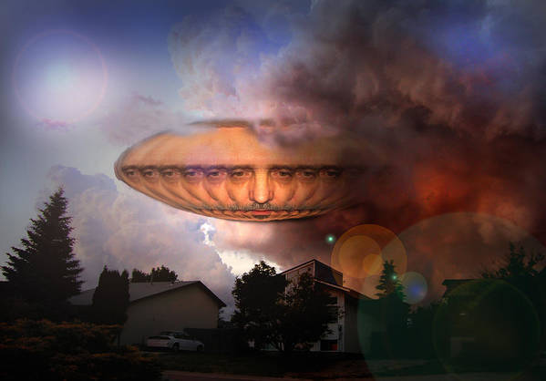 Surrealism Art Print featuring the digital art Mystic Ufo by Otto Rapp