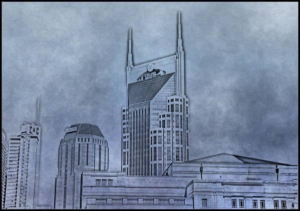 Nashville Skyline Sketch Art Print featuring the photograph Nashville Skyline Sketch by Dan Sproul
