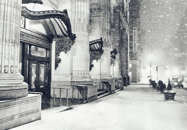 New York City Print featuring the photograph New York City - Snowy Winter Night by Vivienne Gucwa