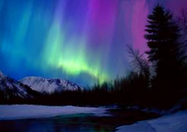 Northern Lights Art Print featuring the painting Northern Lights by Shere Crossman