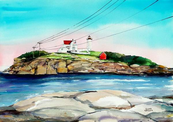 Nubble Lighthouse Art Print featuring the painting Nubble Lighthouse Maine by Scott Nelson