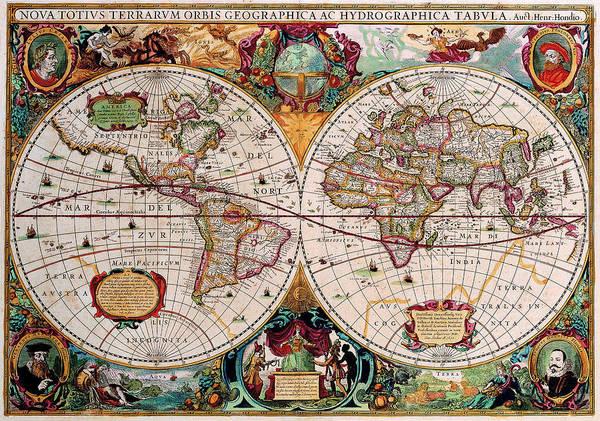 Map Art Print featuring the digital art Old World Map by Csongor Licskai