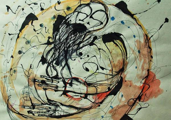 Pen And Ink Art Print featuring the drawing Pain Erupts Everywhere Original by Mark M Mellon