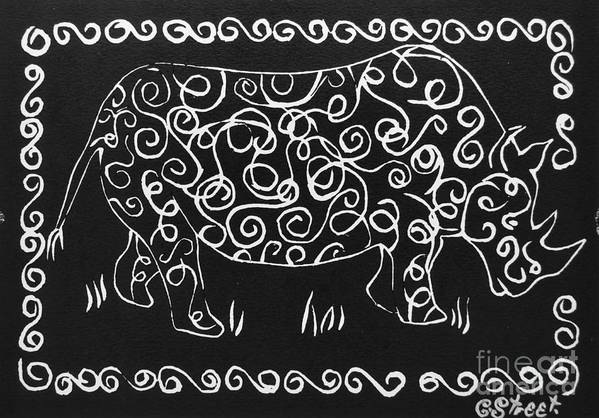Rhino Art Print featuring the relief Patterned Rhino by Caroline Street