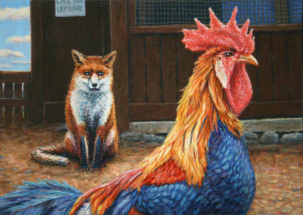 Rooster Art Print featuring the painting Peaceful Coexistence by James W Johnson