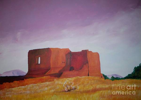 Western Art Print featuring the painting Pecos Mission Landscape by Eric Schiabor