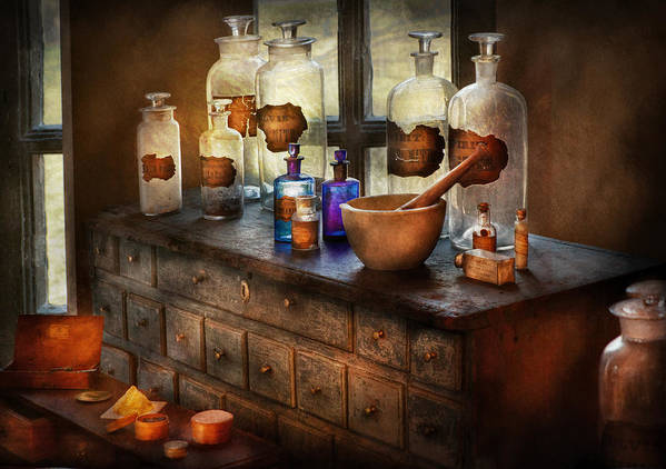 Doctor Art Print featuring the photograph Pharmacist - Medicinal Equipment by Mike Savad
