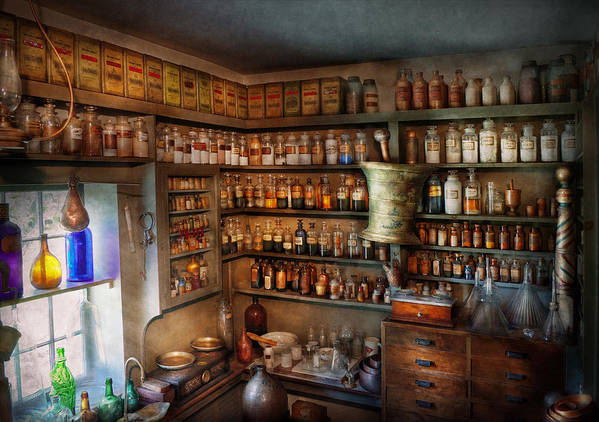 Hdr Art Print featuring the photograph Pharmacy - Medicinal Chemistry by Mike Savad