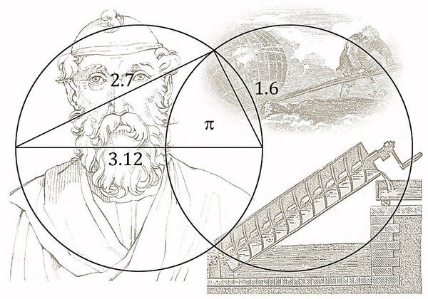 Pi Art Print featuring the digital art Pi Archimedes by Daniel Hagerman