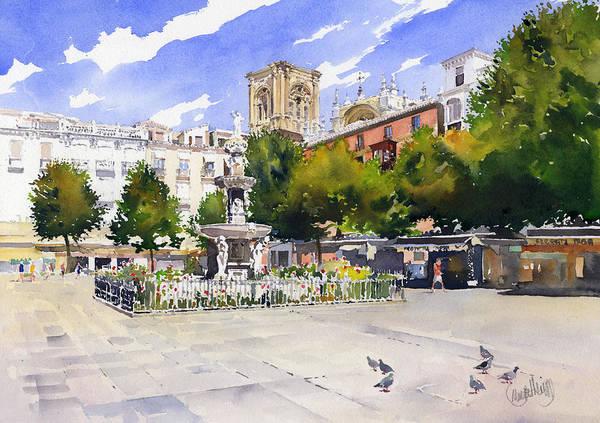 Plaza Bib Rambla Art Print featuring the painting Plaza Bib Rambla by Margaret Merry