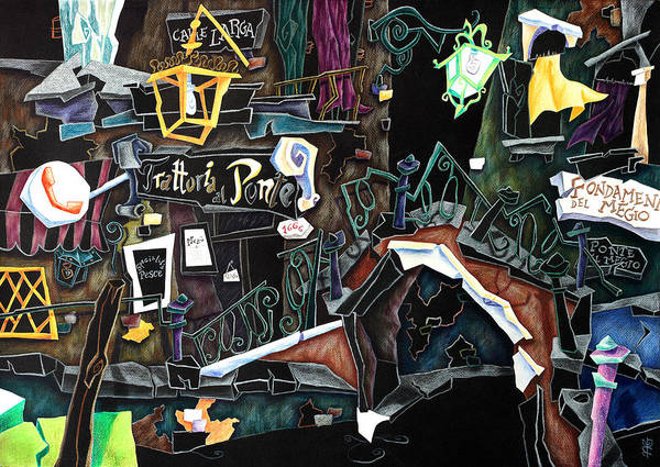 Contemporary Art Art Print featuring the painting Ponte Del Megio - Venice Fine Art Collage by Arte Venezia