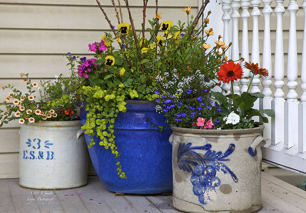 Porch Art Print featuring the photograph Porch Flowers by Steve and Sharon Smith
