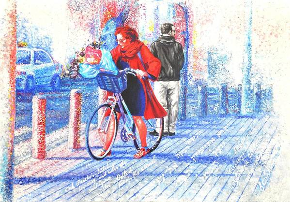 Bicicle Art Print featuring the painting Rebekah Alights From Her Camel by Nekoda Singer