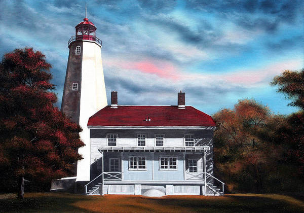 Lighthouse Art Print featuring the painting Sandy Hook Lighthouse by Daniel Carvalho
