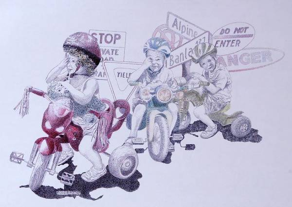 Children Bicycles Kids Portraits Art Print featuring the painting Signsofconfusion by Tony Ruggiero