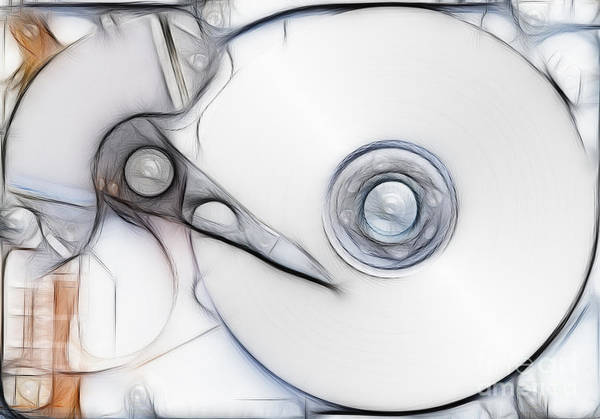 Hardware Print featuring the digital art Sketch Of The Hard Disc by Michal Boubin