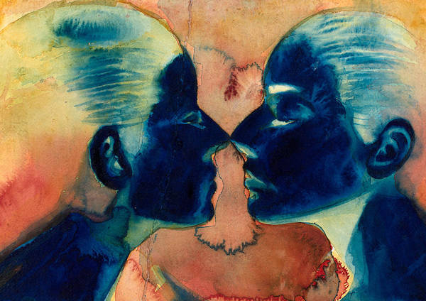 Female; Face; Reflection; Narcissism; Narcissistic; Twins; Mirror Image; Veil; Self Image; Relationship; Watercolor Print featuring the painting Small In Between by Graham Dean