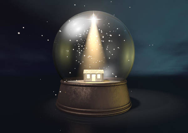 Barn Art Print featuring the digital art Snow Globe Nativity Scene Night by Allan Swart