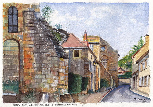 Stonework Art Print featuring the painting Souvigny Eclectic Architecture In A Village In Central France by Dai Wynn