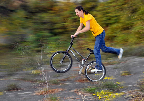 Bmx Flatland Art Print featuring the photograph Speed - Monika Hinz Doing A Wheelie On Her Bmx Flatland Bike by Matthias Hauser